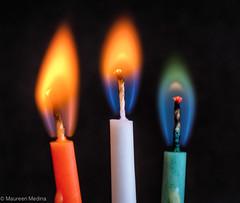 Technicolor Flames (Maureen Medina) Tags: maureenmedina artizenimages flame closeup fire burning candle colored macro mondays