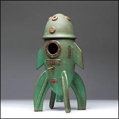 Soviet Era Rocket Birdhouse (Rodrick Dale) Tags: rocket spaceship soviet cccp vostok one yuri gagarin birdhouse star pottery ceramic