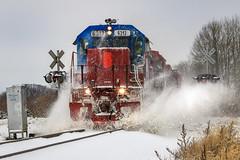 Winter's Return (sdl39hogger) Tags: wsor watco wisconsinsouthern milwaukeesub emd electromotivedivision sd402 ironridge wisconsin snow train canon canont6i