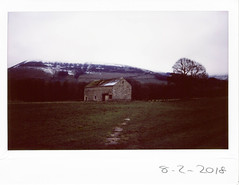 Thursday 9th February 2018 (ronet) Tags: thursdaywalk barn edale field instantfilm instax instax200wide pasture peakdistrict utata:project=tw616 england unitedkingdom
