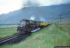 Challenger on the Salt Lake Route (jamesbelmont) Tags: steam articulated alco emd e9a e9b lakepoint utah toolvalley passenger oquirrhmountains rain weather