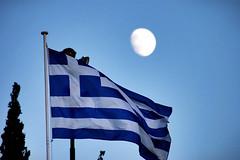 Flag of Greece (Spotter_CY) Tags: flag hellenic hellas greek greece white blue cross moon moonlight sky athens athina capital city europe grece grecia
