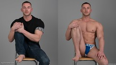 Guy sitting in jeans and jockstrap underwear (xychrome.com) Tags: male model man guy dude youth stud pose studio photoshoot chair shirtless topless dressed undressed clothed unclothed strip stripping bulge tight underwear undie undies diesel jockstrap jeans tshirt fashion trendy casual blue hot horny sexy fit body physique legs chest nipple foot feet barefoot sit sitting