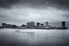 Foggy afternoon (rickmcnelly) Tags: x100f city fog waterfront skyline toned bw