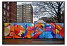 STREET ART by AGWA (StockCarPete) Tags: agwa agwatbc streetart abstractart londonstreetart wallart towerblock london uk urbanart graffiti londongraffiti publicart freeart aerosolart abstractpainting carpark walllight trees brickwork