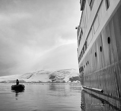 David and Goliath (LanaScape Photos) Tags: select zodiac ship silverexplorer antarctica blackandwhite cold snow ice