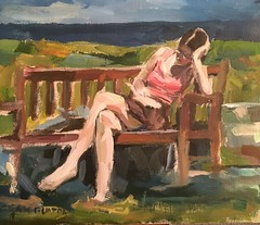 Reading in the sun (Captain Wakefield) Tags: sky oil landscape sea lady modern contemporary figurative burton samuel expressionist woman impressionist painting art people sit sitting seated
