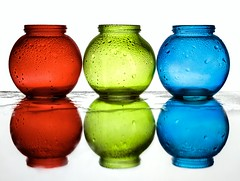 3 Jars (Karen_Chappell) Tags: jar glass rgb red green blue white stilllife three 3 waterdrops colourful multicoloured colours colour color water round