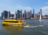 Water Taxi (Steven Bornholtz) Tags: dumbo water taxi brookyn hudson river manhattan skyline ny nyc new york city us usa united states america yellow boats urbanscape urban landscape steven bornholtz steve djmidway midway dj photography imagery pictures getolympus olympus camera pen ep5 travel commute boating sail boat