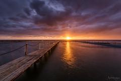 Distant Warmth (Crouchy69) Tags: sunrise dawn landscape seascape ocean sea water coast clouds sky sun jetty pier boardwalk narrabeen beach pool sydney australia