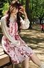 It's Cherry Pink (emotiroi auranaut) Tags: lady woman happy girl cute adorable park bench cherry dress japan japanese female feminine femininity charming