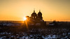 Old Russian Church at Sunset. (Oleg.A) Tags: ancient penzaregion destroyed church nature frost orange snow forest orthodox architecture cross yellow ruined landscape russia old outdoor rural evening villiage countryside mikhaylovka interior cathedral building dome lifegivingtrinitychurch bell sky winter gold twilight sunset field