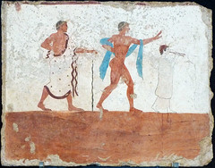 Symposium or Banquet scene: guests ? (petrus.agricola) Tags: fresco from tomb diver banquet scene symposium paestum archaeological museum