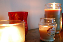 A Variety Of Candles. (dccradio) Tags: lumberton nc northcarolina robesoncounty indoors inside candle candles illuminated flame light lit fire jarcandle nikon d40 dslr candleholder tealight