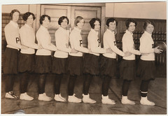 Vintage Team Photo : Girls' Basketball Team Line Up (CHAIN12) Tags: vintage photo scan scanned girl young lady portrait basketball girls ball lineup short hair p 9 kthyphts3bballgirlsteamlineup