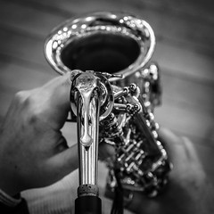 Sax From Above (tim.perdue) Tags: sax above looking down alto saxophone instrument woodwind neck musical hands keys black white bw monochrome closeup detail focus depth field dof jazz musician bell perspective point view pov selmer columbus ohio lincoln theatre arts group pbj concert instrumental