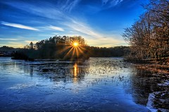 Sun & Ice, Norway (Vest der ute) Tags: xt2 norway rogaland haugesund eivindsvatnet water waterscape ice winter landscape lake reflections sunset sunstar tree trees sky bluesky clouds fav25 fav200