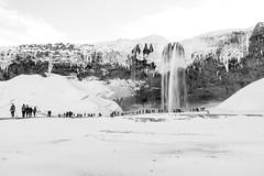 Seljalandsfoss (timnutt) Tags: iceland x100t monochrome bw winter people seljalandsfoss fuji mono water blackandwhite waterfall snow