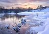 Winter evening (vadimmokin) Tags: winter water snow anawesomeshot europe evening reflection russia riverbank river rocks trees yellow sky day sun sunrise ice nikon
