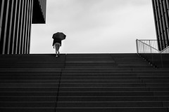 stairs (Dan-Schneider) Tags: streetphotography street silhouette schwarzweiss blackandwhite bw lines monochrome mood minimalism umbrella human fujix