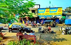 HBM! Mumbai (peggyhr) Tags: peggyhr bench peopletraffic bikes vehicles hbm taxis trees shadows businesses colourful dsc02116ab mumbia india thegalaxy thegalaxylevel2 thegalaxyhalloffame thegalaxystars