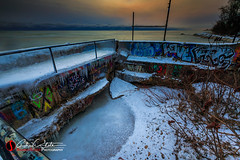 Winter Love (andrewslaterphoto) Tags: abandoned andrewslaterphotography atwaterbeach boathouse clouds discoverwisconsin graffiti greatlakes ice lakemichigan landscape milwaukee outdoors snow sunrise travelwisconsin winter canon wisconsin wi mkemycity mke midwest 5dmarkiii love