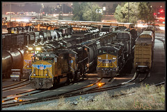 (K-Szok-Photography) Tags: westcolton trains transportation trainsinaction trainsatnight railroads locomotives railyards railroadcars nightimages nightshots night longexposure lowlight emd unionpacific sbcusa socal california inlandempire canon canondslr canon50d 50d kenszok kszokphotography