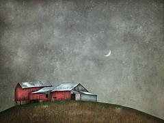 Le Petit Tout (sharon o*brien huey) Tags: photoart magicalrealism textures manipulation sharonobrienhuey farm barn bucolic moon ethereal