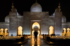 Of Mosque and Man (tsoeiro) Tags: ifttt 500px religion night architecture lights shadow man mosque perspective abu dhabi sillouette religious place temple simble