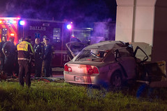 Car into Concrete Rail-Bridge Support in Dallas (Shane B. Murphy - Photographer) Tags: car accident crash crashed vehicle sedan 4 door wreck chaser chasing photo photograph photojournalism dallas texas tx dfr fire rescue entrapment extrication jaws life collision mva mvc pinned people crushed fatal fatality victim patient ems firefighter firefighting jawsoflife cutting head impact high speed velocity police pd dpd department engine truck usr usar urban search city work firephotographer canadian student smu texan dart rail bridge area rapid transit
