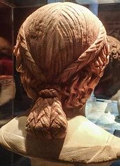 Closeup of the hairstyle of a female portrait from the House of the Citharist Pompeii 1st century CE (mharrsch) Tags: woman female portrait bust hairstyle roman ancient pompeii houseofthecitharist marble omsi portland oregon mharrsch