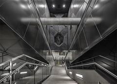 HEAVY METAL (henny vogelaar) Tags: germany underground station metal architecture modern stairs steel reflection futuristic beautiful color köln keulen severinstrasse
