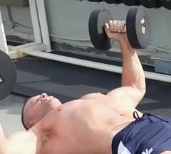 shirtless pec flys (ddman_70) Tags: shirtless pecs muscle workout gym dumbbellflys chest