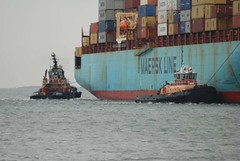 Liberty & Justice (jelpics) Tags: maerskline sealandillinois conleyterminal containership cargoship merchantship tug tugboats liberty justice boat boston bostonharbor bostonma harbor massachusetts ocean port ship sea vessel