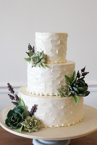 Succulents and Spoon Texture Buttercream Wedding Cake