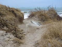 Shifting dunes (ET's Photo Home) Tags: dunes sand beach wisconsin nature kohlerandraestatepark grass water lake lakemichigan waves path trail hike hiking