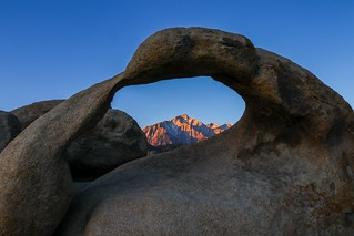 A view of Lone Pine peak through the Mobius Arch