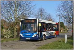36950, Spinney Hill (Jason 87030) Tags: e200 enviro adl sn63kgo 36950 d2 rugby midlands dart village daventry northants northamptonshire stagecoach michael dancing tree naked branch spinneyhill local walk jasmine freshair red white blue orange scum sunny ligting 2018 february farewell uk england sony alpha a6000 ilce nex wheels fleet change
