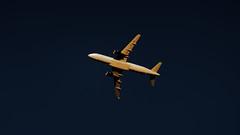 Big bird in the dark (Franck Zumella) Tags: plane airplane avion sky high jet fast blue sunset yellow light dark night orange