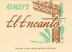 Ashley's El Encanto - Long Beach, California (The Cardboard America Archives) Tags: 1975 longbeach california restaurant matchbook advertising vintage