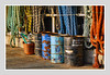 ROPES AND OIL DRUMS (Barry Haines) Tags: cornwall newlyn harbour near penzance sony a7r2 a7rii 85mm f14 gm fishing ropes oil drums flickrsbest