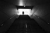 One step at a time. (明遊快) Tags: woman light shadow stairs city urban japan japanese bw blackandwhite