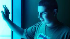 Sensory Seeker (Aaron Davis 2014) Tags: son seeker sensory spectrum autism iphone contrast light blue aquarium portrait
