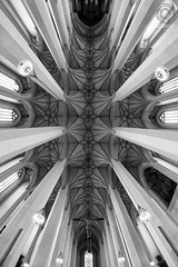 Sacred MUNICH: Frauenkirche - the ceiling (mkarwowski) Tags: canoneos80d canon eos80d eos 80d travel church cathedral munich frauenkirche interior monochrome blackandwhite samyang8mmf35umcfisheyecsii samyang fisheye architecture ceiling pillars nave