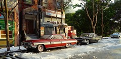 Snow Corner Morning (gpholtz) Tags: diorama miniatures 118 diecast oldsmobile starfire 1962 ford fairlane 1958