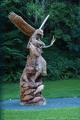 Sculpture at Gold River Lodge (MIKOFOX ⌘ Thanks 4 Your Faves!) Tags: canada sculpture mikofox xt2 lodge learnfromexif july wood landscape provia fujifilmxt2 carving goldriverhighway art showyourexif xf18135mmf3556rlmoiswr
