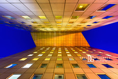 Daily Intuition - La Défense, Paris, France (davidgutierrez.co.uk) Tags: paris architecture art city photography davidgutierrezphotography nikond810 nikon urban travel people color londonphotographer photographer night france blue skyscraper london bridge japanbridge ladéfense bluehour twilight buildings 巴黎 パリ 파리 париж parís parigi colors colours colour europe beautiful cityscape davidgutierrez capital structure ultrawideangle afsnikkor1424mmf28ged 1424mm d810 street arts businessdistrict îledefrance streets road building longexposure le vertical lookingup