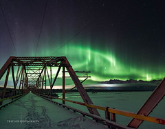 Show from the bridge (Traylor Photography) Tags: alaska aurora northernlights abandoned knikriver winter bridge milkyway palmer butte fog panorama footprints perspective oldglennhighway unitedstates us