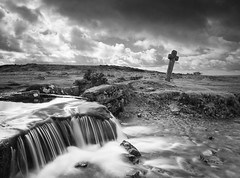 Windy Post Cross (olgl) Tags: landscape blackwhite westdevondistrict england unitedkingdom dartmoor water sky waterfall rock cross grass uk