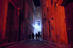'Red & Blue' Week (05/07) (elgunto) Tags: street people colors red blue beziers france old occitanie lights night sonya7 tamron287528 laea4 adapter